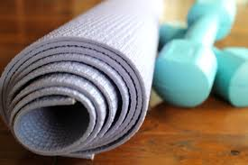 weights and yoga mat